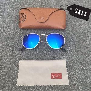 RAY BAN Hexagonal Blue Gold Sunglasses SZ 51